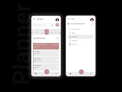 Daily Task Planner reminder schedule tasks task manager calendar clean app planning planner mobile app events branding illustration uxdesign uidesign ux ui minimal