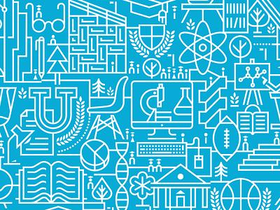 Milliken linear line branding education pattern icons art artwork modern iconography icon vector design graphic illustration