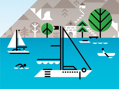 Lake logo line linear art vector iconography modern artwork icons icon graphic design illustration