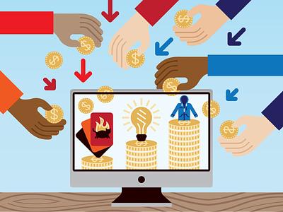 Crowdfunding web crowdfunding crowdfund branding line icons art artwork modern iconography vector icon graphic design illustration