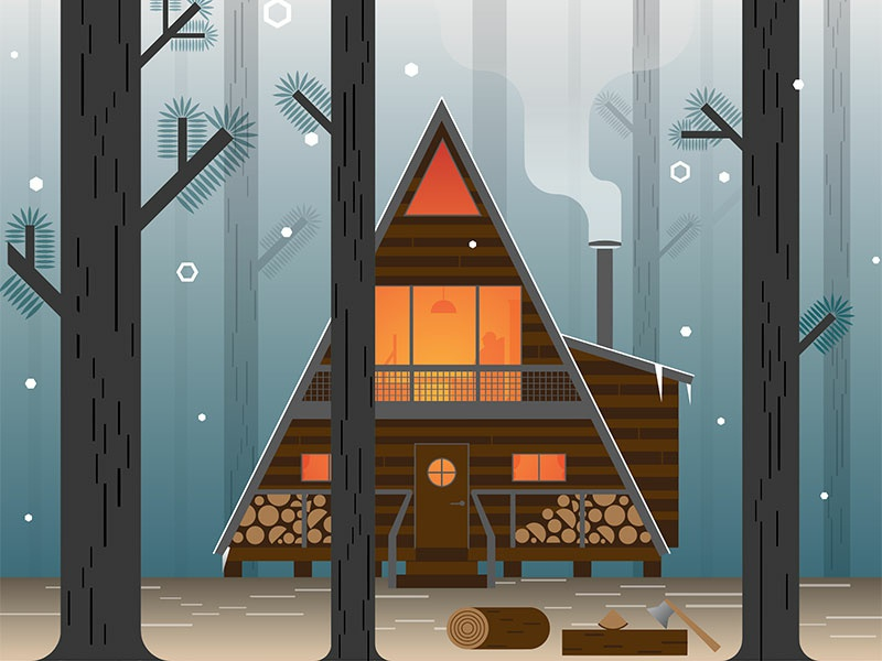 A-Frame Cabin nature vacation forestry offgrid cabinporn forest pattern iphone logo branding linear line artwork art modern vector icon graphic design illustration