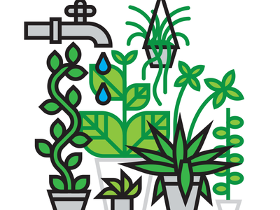 Houseplants eco nature iphone thicklines science branding logo pattern linear line icons iconography artwork art modern vector icon graphic design illustration