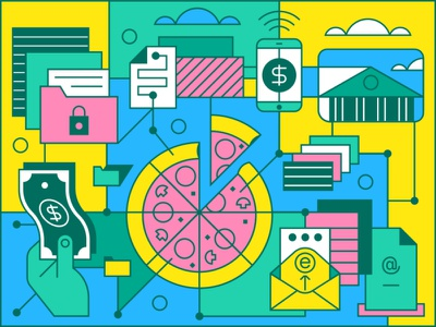 Kaspersky - Digital Clutter 1 iphone line iconography modern art vector design icon graphic illustration