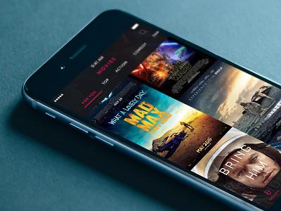 Movie & TV App - Movie List tabs poster list tv show player iphone ios movie