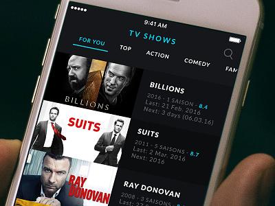 Movie & TV App - Tv Show List tv tabs show poster player movie list iphone ios