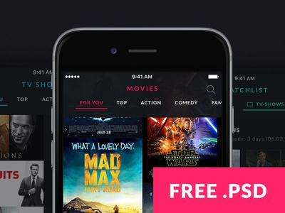 Month #01 - free movie & TV Show app template free template ios template iphone template mobile template movie template ios psd mobile psd iphone psd movie psd free psd