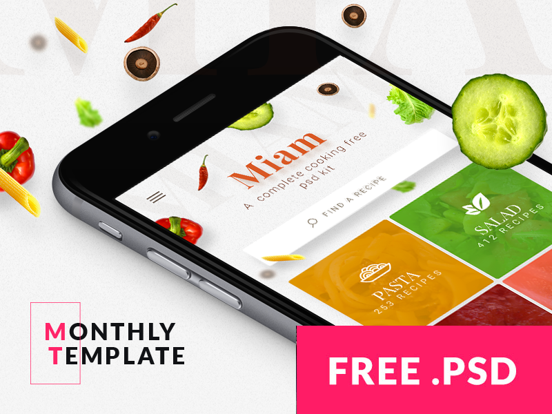 Month #02 - free Cooking & Recipe app template cooking template cooking psd mobile template mobile psd iphone template iphone psd ios template ios psd free template free psd