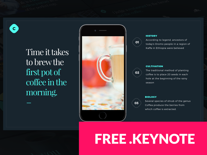 Coffee FREE Keynote template free template template free monthlytemplate coffee website design presentation keynote
