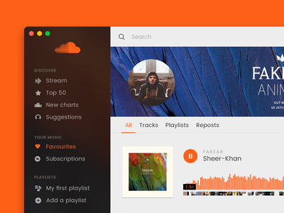 Soundcloud App Template Profil page template music app mac soundcloud