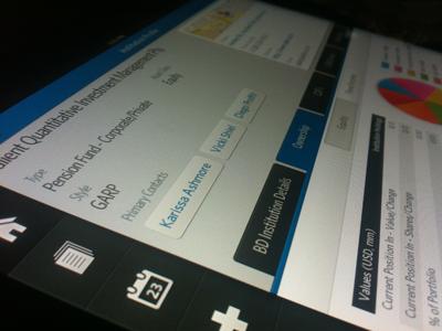 CRM Concept ipad crm ui blue grey chart finance tabs