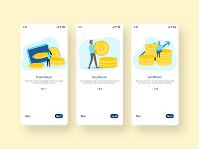 Crypto Currency App Onboarding clean best branding uiux trendy minimal design app bitcoin wallet bitcoin app trading crypto exchange currency crypto trading crypto wallet