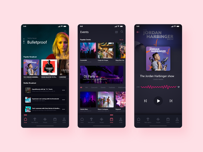 Podcast Mobile App streaming app podcasts streaming mobile app branding uiux trendy design app minimal clean best live music music app podcasting live streaming