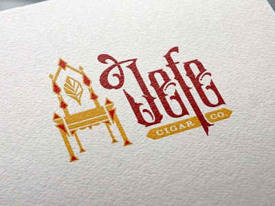 Logo for a Cigar Brand jefe crown king chair decorative ornamental art deco red gold tobacco throne royal typography branding cigar