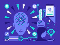 NEO crypto 03 key ui  ux illustration geometric data circuitry digital brain head woman hands lightbulb branding green blue wallet cryptocurrency crypto blockchain analytics