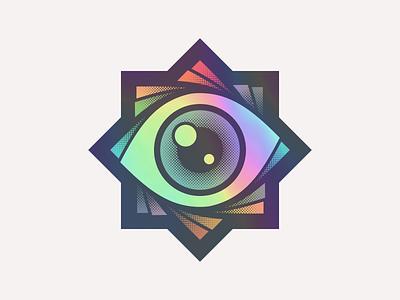 Spiraleyezed stickermule sticker colorful color eyes star holographic spectrum rainbow halftone spiral eye