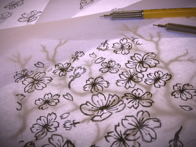 Japanese sakura pattern sketches
