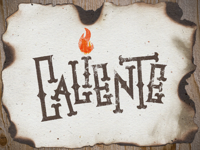 Caliente lettering caliente hot burned burnt custom lettering type typography hand drawn fire red orange