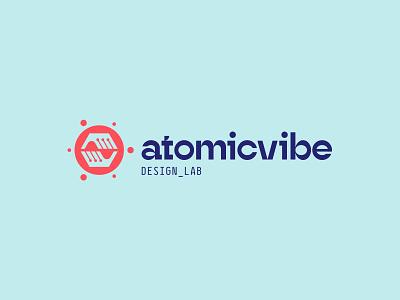 atomicvibe 2020 redesign blue red logo typogaphy custom type contrast geometric branding atomic hands circle atomicvibe experimental type reverse contrast hadouken energy a v abstract symbolism