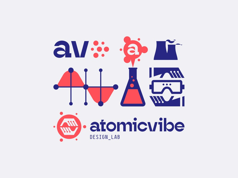 atomicvibe 2020 redesign - 02 experimental type blue red geometric monospaced hands gloves goggles laboratory chemistry lab data graph cooling tower nuclear erlenmeyer flask atomicvibe abstract atomic a