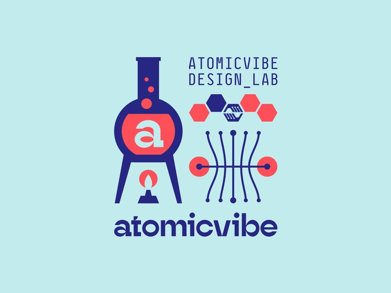 atomicvibe 2020 redesign - 03 atomic red blue a reverse contrast monospaced geometric experimental type branding bunsen burner flame fire data graph hexagon hands laboratory lab chemistry florence flask