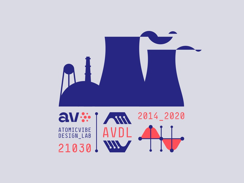 atomicvibe 2020 redesign - 04 blue lab v a geometric smoke cooling tower reactor atomic nuclear hexagon graph numbers hands monogram monospace experimental type custom type branding logo