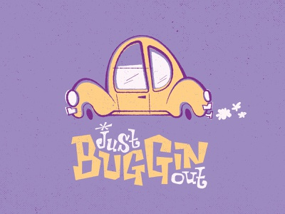 Buggin out vintage texture hand drawn 70s 60s retro purple custom lettering hand lettering whimsical illustration car hippie yellow volkswagen veedub beetle vw