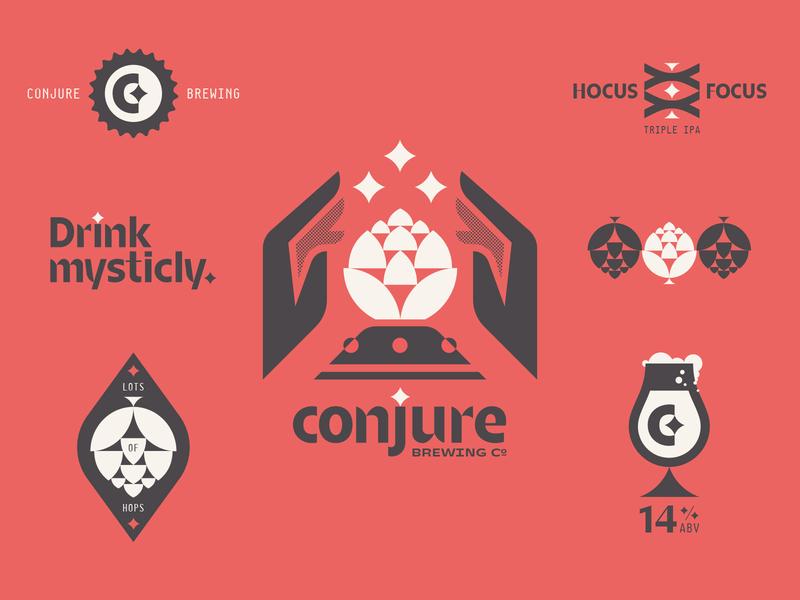 conjure 01 red type lockup typography geometric monogram tulip glass badge hands bottle cap c magic eyes star hop hops logo branding beer