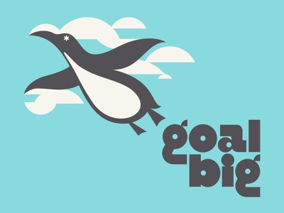 goals illustration bold typogaphy chunky asterisk blue gray experimental circular modular custom type geometric clouds dream flying flight penguin bird goal goals