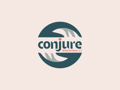 Conjure 04 type typography logotype craft geometric simple star mysticism magic green tan red black dots illustration branding logo brewery hands beer