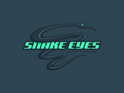 Snake Eyes Software 01 reptile monogram secure engineering security server green gray e custom type mascot serpent code developer technology tech software snake eyes snake