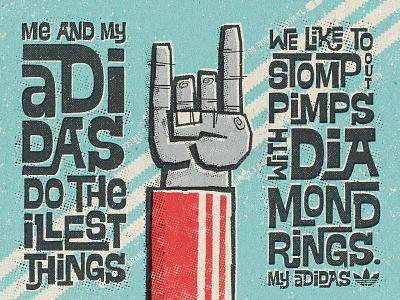 My Adidas halftone stripes blue red rough whimsical interlocking lettering rap hip hop run dmc track top hand devil horns sports sneakers retro old school adidas originals adidas