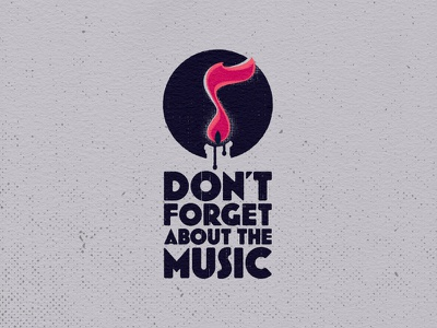 Don't Forget About the Music logo double meaning negative space circle flame eighth note musical note note candle music logo