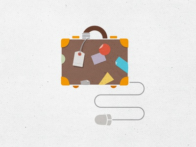 Inspirato - booking online travel flat simple illustration business business travel american express inspirato online mouse briefcase suitcase brown