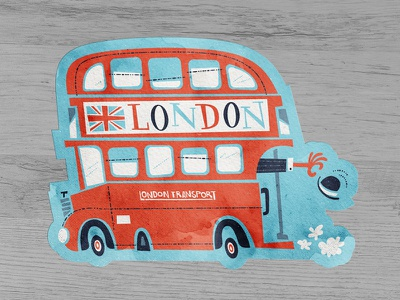 Double D bus'd whimsical red hat union jack watercolor retro britain british double decker bus bus uk london