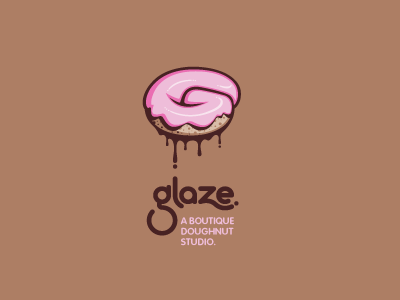 Glaze logo round mod modern bakery brown tan pink sugar sweet dripping drips drip gooey g rounded circle cake frosting icing glaze doughnut donut custom type typography typographic