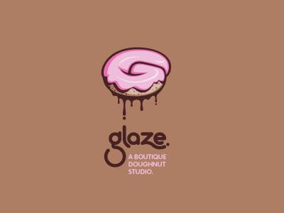 Glaze logo round mod modern bakery brown tan pink sugar sweet dripping drips drip gooey g rounded circle cake frosting icing glaze doughnut donut custom type typography typographic