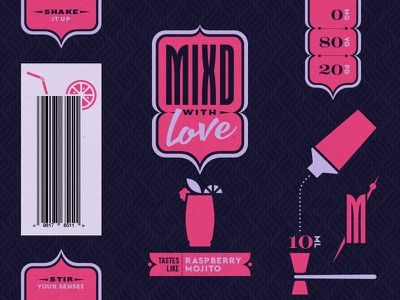 Mixd - 01 typography pattern branding logo icon alcohol drink mojito cocktail geometric simple vape