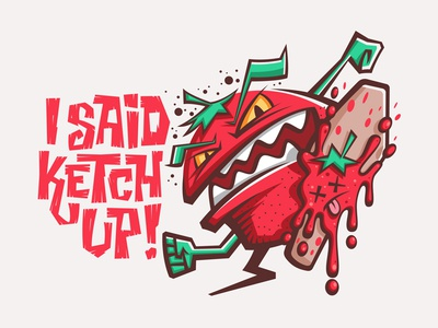 KETCH UP!!! sticker illustration foot character green red squish angry ketchup tomato
