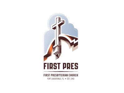 First Pres church logo church religion religious cross faith florida sunny clouds sky contrast stark bold hatch lines hatch hatching shading linocut woodcut lines diagonal perspective architecture architectural orange blue tan brown