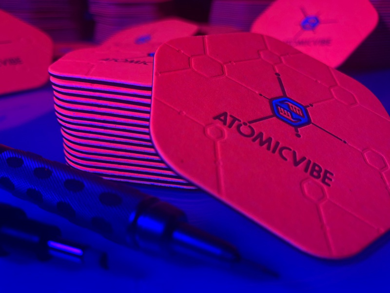 atomicvibe business cards - REDESIGN! pattern hexagon scientific retro atomic fluorescent bright die cut business card letterpress