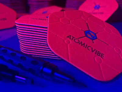 atomicvibe business cards - REDESIGN! pattern hexagon scientific retro atomic fluorescent bright die cut business card letterpress