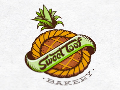 Sweet Toof Bakery - FINAL sweet bakery confections confectioners pastries pastry cake tart fruit pineapple hand drawn type typography typographic