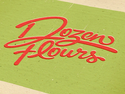 Dozen Flours visual identity option 01 logo id brand branding mark logotype type typography typographic calligraphy script lettering expressive emotive swash ligature clever visual identity brand mark custom type hand lettering double meaning hidden meaning
