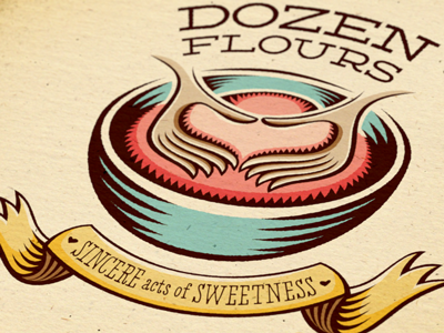 Dozen Flours visual identity option 02 hidden meaning double meaning hand lettering custom type brand mark visual identity clever emotive expressive loving love handcrafted artisan baking hands bowl ribbon heart illustration illustrated lettering typographic typography mark branding brand id logo