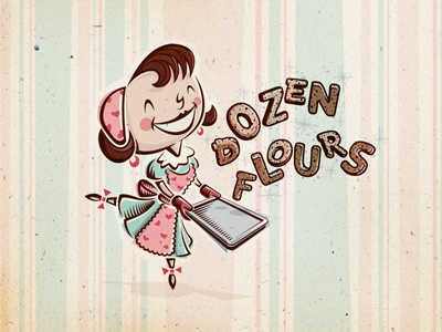 Dozen Flours visual identity option 03 logo brand branding mark visual identity typography lettering illustrated illustration baking homemade love loving expressive emotive feminine cute character 1950s 50s vintage retro custom type hand lettering cookies cheerful heart pink teal warm