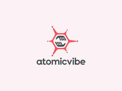 atomicvibe logo redesign technical sans serif atomicvibe geometric scientific fluorescent neon energy atomic hands hexagon branding logo