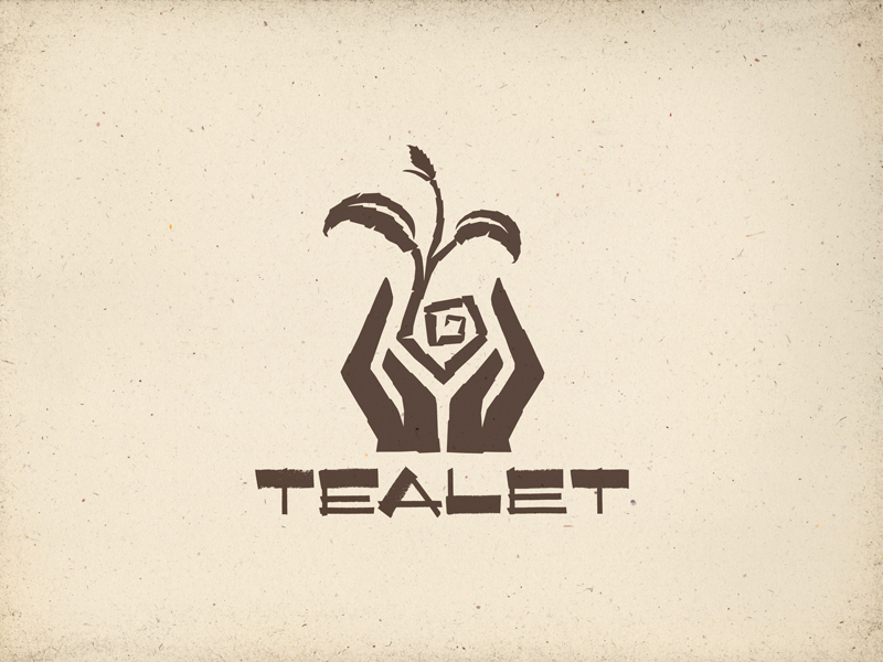 Final - Tealet logo rough roughened hands tea hawaii aloha artisan handcrafted hand drawn type typography letterforms hand lettering drawing black angles brush strokes natural