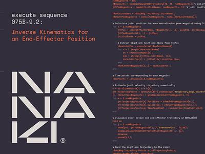Nanaki 01a sci fi geometric abstract modernism futuristic typography type design lettering branding logo programming code robot ai technology tech japanese japan robotics