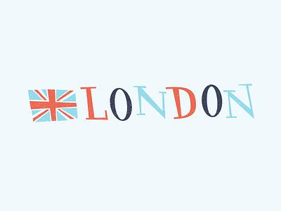 London or Bus'd hand playful organic cartoon hat great britain britain british retro whimsical union jack illustration blue white red england double decker bus london