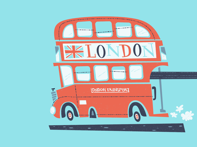 London or Bus'd hand playful organic cartoon hat great britain britain british retro whimsical union jack illustration blue white red england double decker bus london
